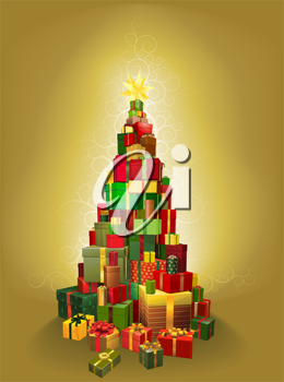 Illustration of a pile of presents in the shape of a Christmas tree with gold pattern background