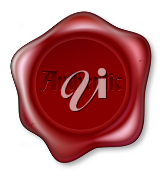 Red wax seal bearing the word authentic. Guarantee of being genuine or authenticity