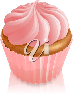 Illustration of pink fairy cake cupcake with icing