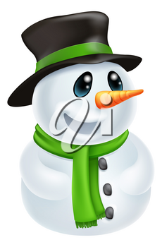 Happy cute cartoon Christmas Snowman character with hat and green scarf