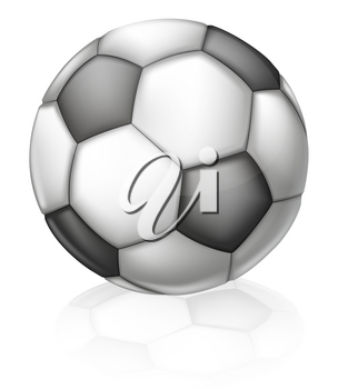 An illustration of a classic black and white Soccer ball with hexagon and pentagon pattern