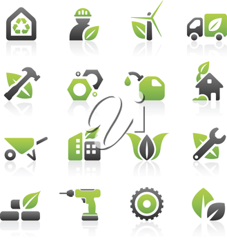 Royalty Free Clipart Image of a Set of Green Environmental, Business and Industrial Icons