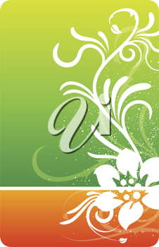 Royalty Free Clipart Image of a Background With a Floral Flourish