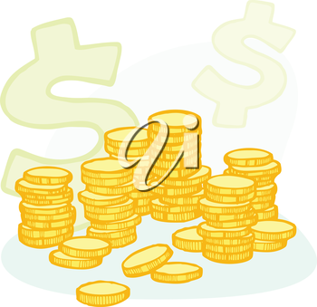 Illustration of stacked coins and a dollar symbol