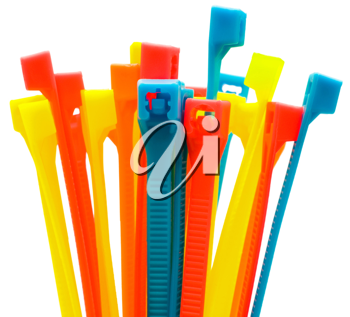 Multi colored cable ties isolated over white