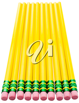 Close-up of pencils in a row isolated over white