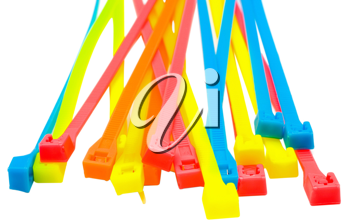Heap of cable ties isolated over white
