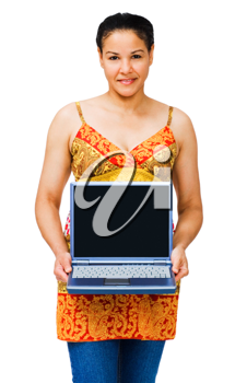 Mixed race woman holding a laptop and smiling isolated over white