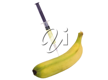 Banana being injected with a syringe