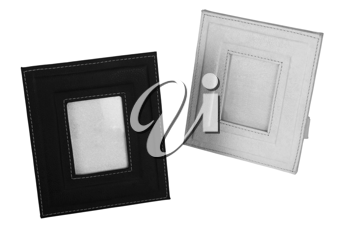 Close-up of two empty photo frames