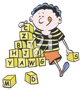 Royalty Free Clipart Image of a Child With Building Blocks