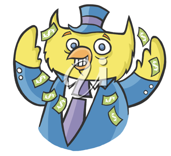 Royalty Free Clipart Image of an Owl With Money