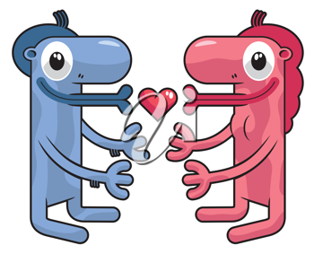 Royalty Free Clipart Image of a Boy and Girl Creature in Love