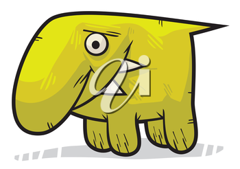 Royalty Free Clipart Image of a Strange Creature Looking Sad