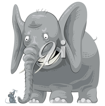 Royalty Free Clipart Image of an Elephant and Mouse