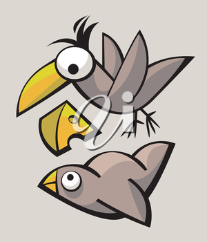 Royalty Free Clipart Image of Cartoon Birds and Cheese