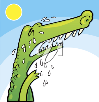 Royalty Free Clipart Image of a Crying Crocodile