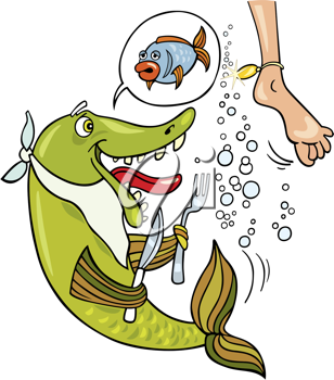 Royalty Free Clipart Image of a Foot and a Hungry Fish