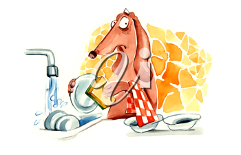 Royalty Free Clipart Image of a Dachshund Washing Dishes