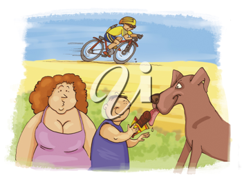 Royalty Free Clipart Image of a Bicyclists, and Two People With a Dog in a Park