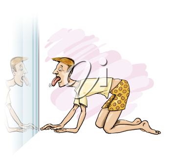 Royalty Free Clipart Image of a Man on His Hands and Knees Looking at His Tongue in the Mirror