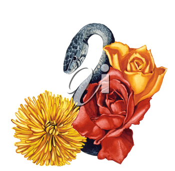 Royalty Free Clipart Image of a Snake and Flowers