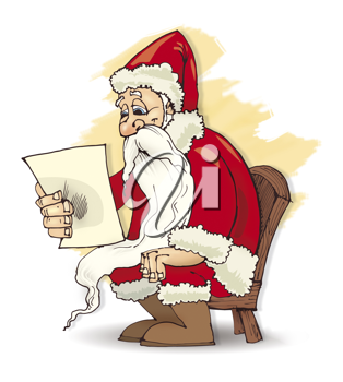 Royalty Free Clipart Image of Santa Reading a Letter