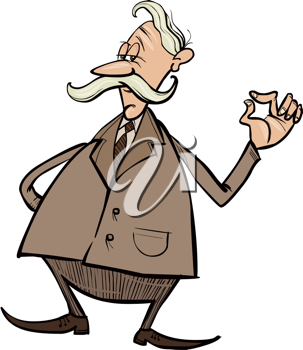 Royalty Free Clipart Image of an Older Man in Dress Clothes