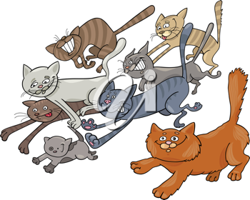 Royalty Free Clipart Image of Running Cats