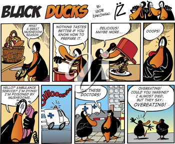 Royalty Free Clipart Image of a Black Ducks Comic Strip About Eating Mushrooms