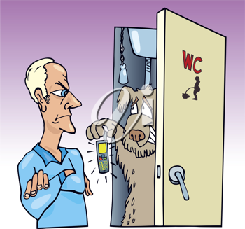 Royalty Free Clipart Image of a Dog Coming Out of a Washroom Holding a Cellphone and an Angry Man