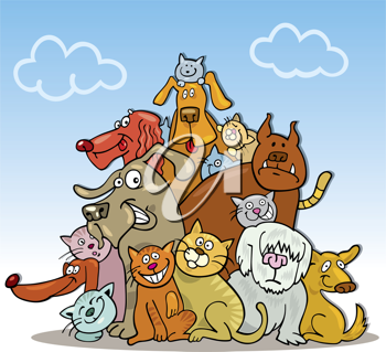 Royalty Free Clipart Image of a Group of Cats and Dogs