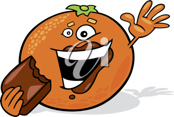 Royalty Free Clipart Image of an Orange Eating Chocolate