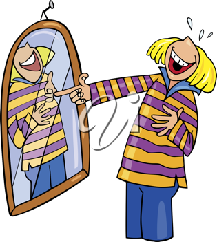 Royalty Free Clipart Image of a Girl Laughing at Herself in a Mirror