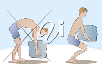 Royalty Free Clipart Image of an Illustration Showing the Right and Wrong Way to Lift Something