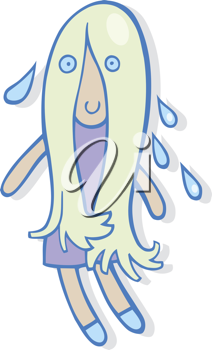 Royalty Free Clipart Image of a Girl Dripping Water