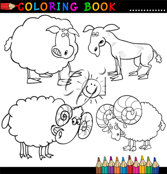 Coloring Book or Page Cartoon Illustration of Funny Farm and Livestock Animals for Children