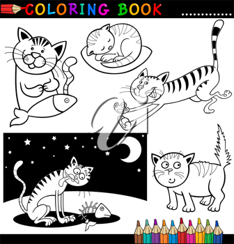 Coloring Book or Page Cartoon Illustration of Funny Cats for Children