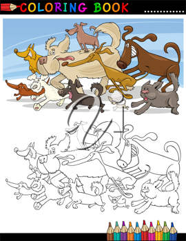 Coloring Book or Page Cartoon Illustration of Funny Running Dogs Group for Children