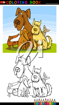 Coloring Book or Page Cartoon Illustration of Five Funny Dogs for Children
