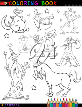 Coloring Book or Page Cartoon Illustration of Wizard and Dwarf and Unicorn and Dragon Fairytale Fantasy Characters