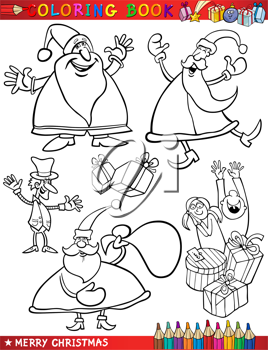 Coloring Book or Page Cartoon Illustration of Christmas Themes with Santa Claus or Papa Noel and Xmas Decorations and Characters for Children