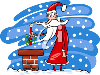 Cartoon Illustration of Malicious Funny Santa Claus or Papa Noel on the Roof with Stick of Dynamite as Christmas Present