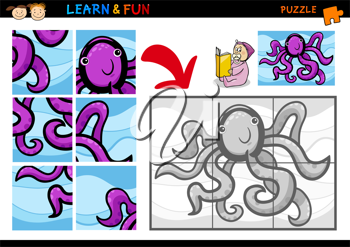 Cartoon Illustration of Education Puzzle Game for Preschool Children with Funny Octopus Animal
