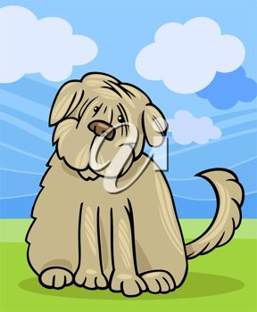 Cartoon Illustration of Funny Purebred Tibetan Terrier Dog or Labrador Doodle or Briard against Blue Sky and Green Grass