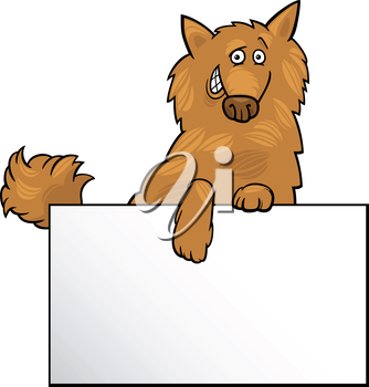 Cartoon Illustration of Funny Shaggy Dog with White Card or Board Greeting or Business Card Design
