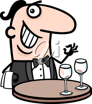 Cartoon Illustration of Funny Male Waiter in Restaurant Profession Occupation