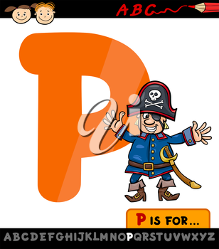Cartoon Illustration of Capital Letter P from Alphabet with Pirate for Children Education