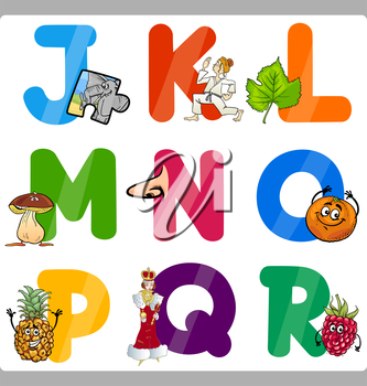 Cartoon Illustration of Funny Capital Letters Alphabet with Objects for Language and Vocabulary Education for Children from J to R