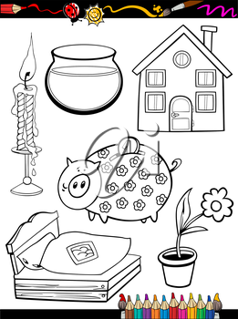 Coloring Book or Page Cartoon Illustration of Black and White Home Objects Set for Children Education